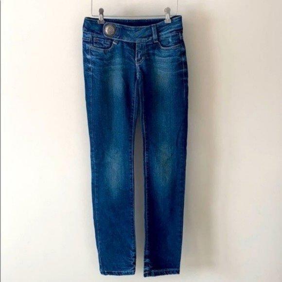 Carmim Denim Jeans Low Rise Medallion Buckle 25